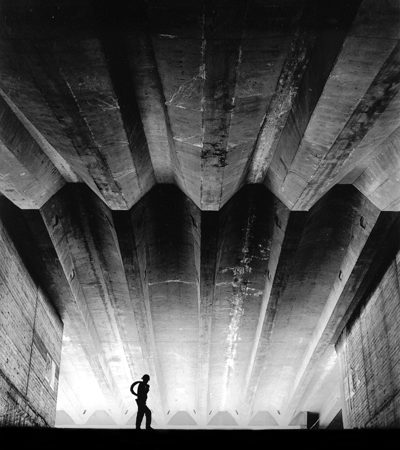 Max Dupain print: Sydney Opera House construction – under grand staircase, 1970