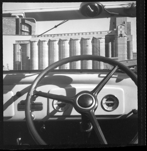 Max Dupain print: Silos through windscreen, 1930s
